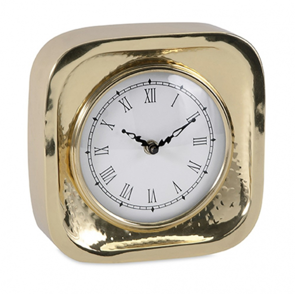 Elegant Contemporary Gold Brass Desk Clock with Roman Numeral ...