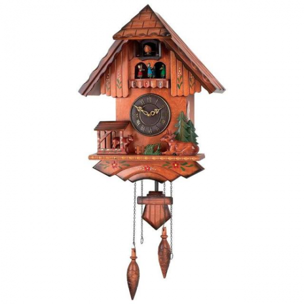 Cuckoo Clock Battery Operated Wall Clock Wood Accents Electronic ...