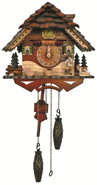 Quartz Cuckoo Clock Black forest house with music, wood-cutter