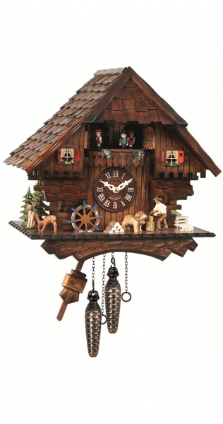 ... wood chopper and mill wheel, with music - Quartz cuckoo clocks with