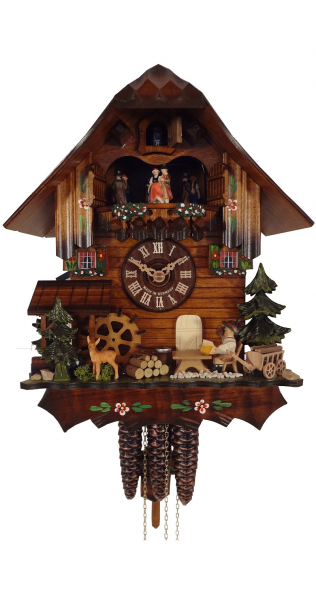 Day Musical Alpine Cabin with Deer and Beer Drinker Cuckoo Clock