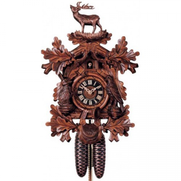 ... Carved Animals - 8 Day Mechanical German Black Forest Cuckoo Clock