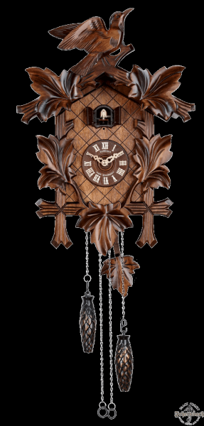 Cuckoo Clock - Quartz Traditional with Leaves and Bird - Schneider
