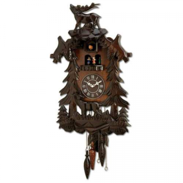 Kassel Cuckoo Clock Hand Carved Wooden Accents Precise Quartz Movement