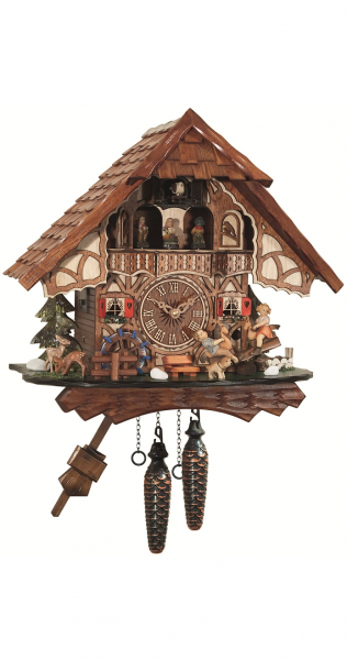 Quartz Cuckoo Clock Black forest house, turning mill-wheel, moving ...