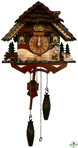 Home Cuckoo Clock - Quartz Chalet with Woodchopper & Dog - Schneider