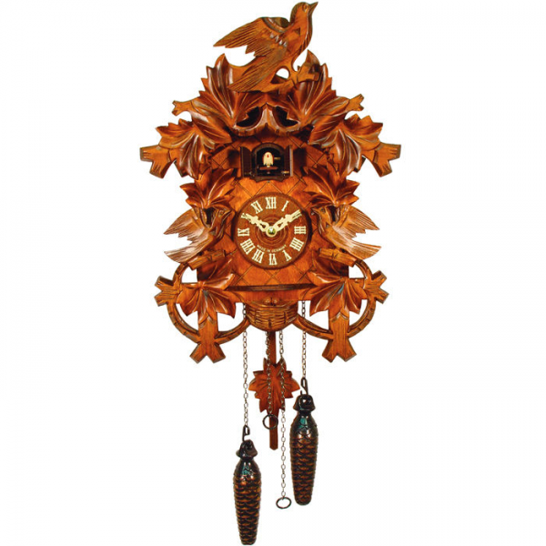 SAVE Black Forest German Cuckoo Clock with Ornately Carved Leaves and ...