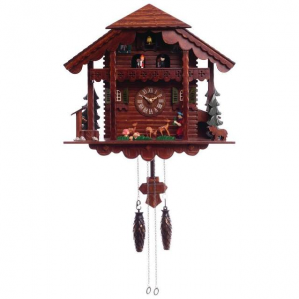 Cuckoo Clock Battery Operated Wall Clock Moving Figures Electronic ...