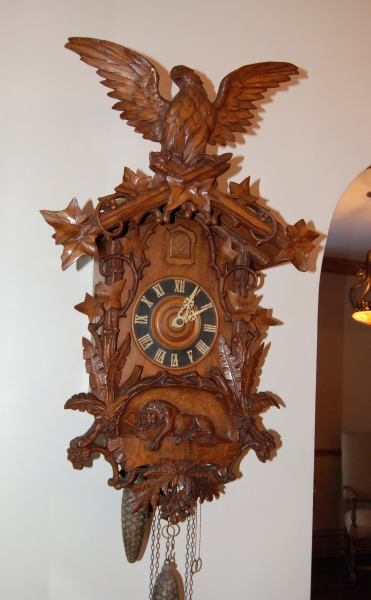 Antique Cuckoo Clock with Lion of Lucerne Motif | Black Forest Clocks
