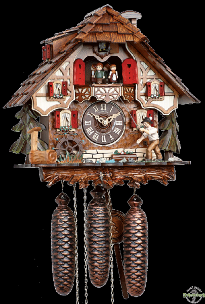 Home Cuckoo Clock - 8-Day Chalet with Fisherman - Schneider