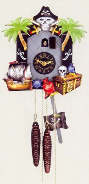 One Day Movement Kids Cuckoo Clock - Pirates Theme 10 Inch