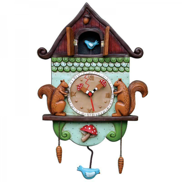 Cuckoo Bird Squirrel Birdhouse Clock Art by Allen Designs - Clocks