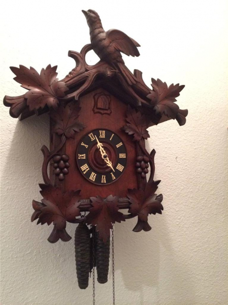 Antique-Black-Forest-Large-German-Made-Carved-Wood-Cuckoo-Clock-Runs ...
