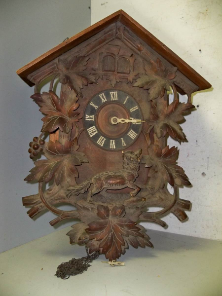 LARGE ANTIQUE 3 WEIGHT QUAIL & CUCKOO CARVED CUCKOO CLOCK ,United ...