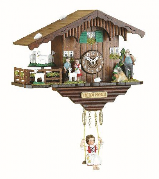 Kuckulino Black Forest Clock Swiss House with turning goats, quartz ...