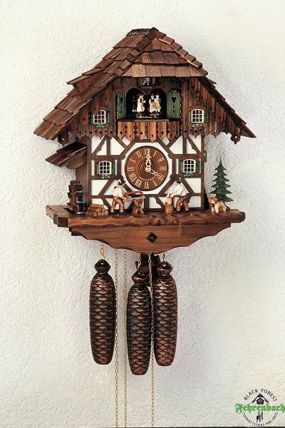 Home Cuckoo Clock - 8-Day Chalet Black Forest House With Wood Cutters ...