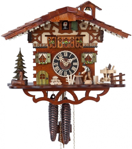 ... Woodcutter Chalet - 1 Day Mechanical German Black Forest Cuckoo Clock