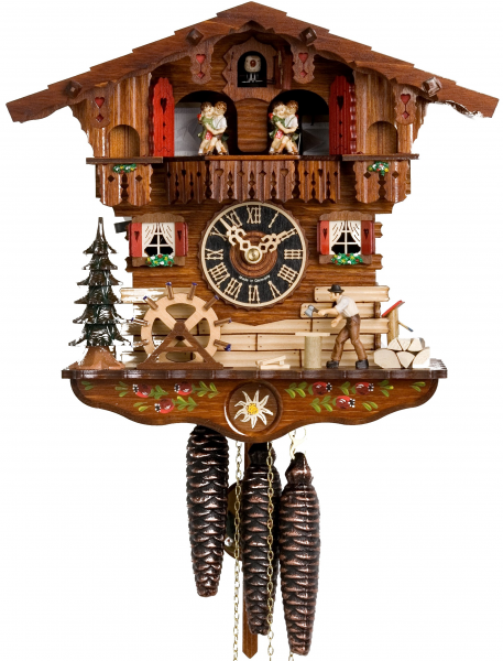 ... and Dancers Chalet - 1 Day Mechanical German Black Forest Cuckoo Clock