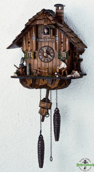 Home Cuckoo Clock - Quartz Chalet with Wood Chopper - Schneider