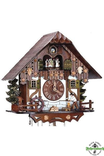 Home Cuckoo Clock - 8-Day Chalet With Wood Chopper - Schneider