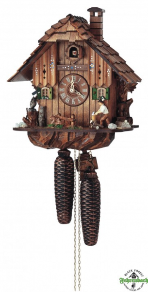 Home Cuckoo Clock - 8-Day Chalet With Wood Chopper & Owl - Schneider