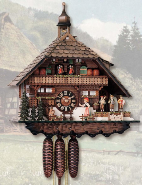 26in Moving Bell Ringer German Black Forest Cuckoo Clock 8 Day Musical ...