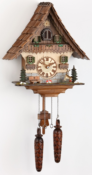 Quartz Cuckoo Clock Black forest house with music, incl. batteries TU ...