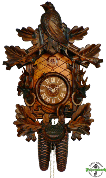 Home Cuckoo Clock - 8-Day Hunting with Rifles, Horn & Deer - Schneider