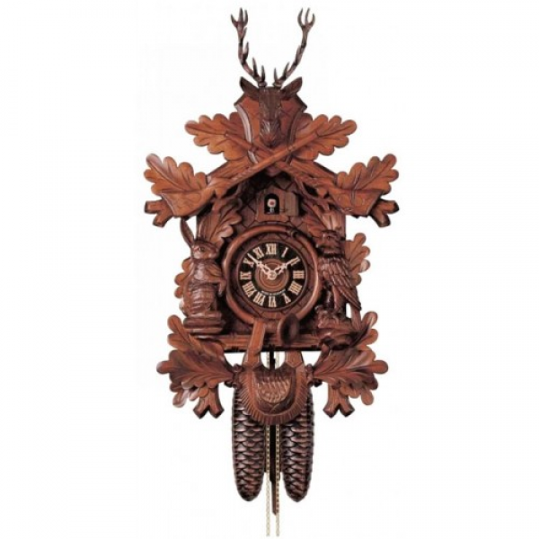 ... Hunting Style- Carved Horn- German Black Forest Cuckoo Clock