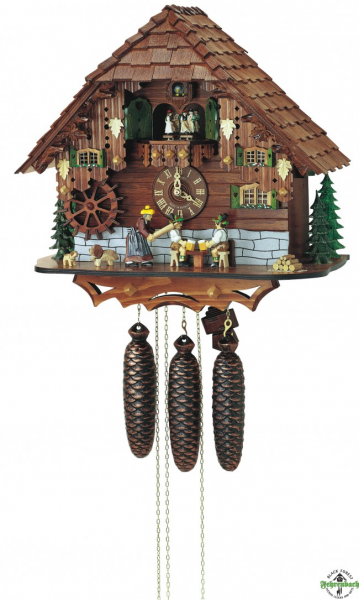 Cuckoo Clock - 8-Day Chalet With Woman And Beer Drinkers - Schneider