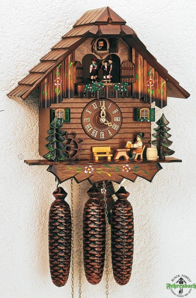 Home Cuckoo Clock - 8-Day Chalet With Beer Drinker And Water Wheel ...