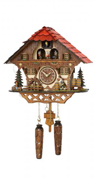 Black Forest house with moving beer drinker and mill wheel, with music ...