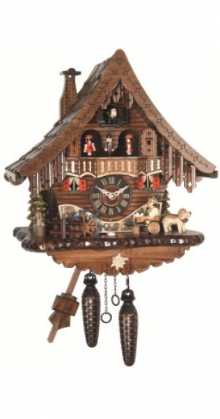 UK | Quartz Cuckoo Clock Black Forest house with moving beer drinker ...