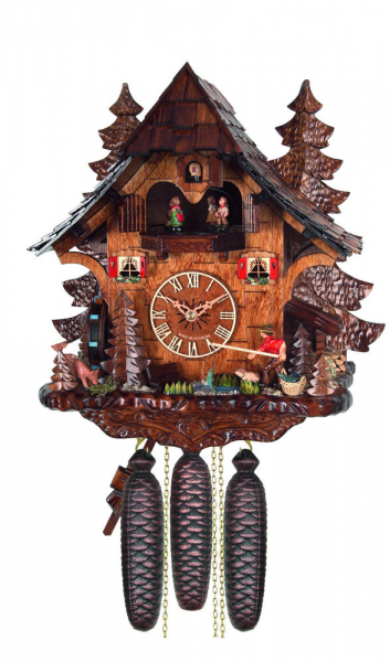 Cuckoo Clock Black Forest 8 Day Original German Fisherman Wood Music ...