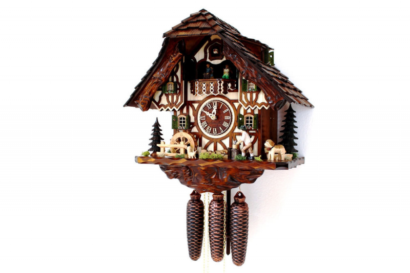 Cuckoo Clock Hettich Black Forest 8 Day Original German Music Wood ...