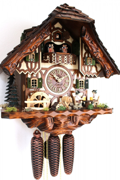 Cuckoo Clock Hettich Black Forest 8 Day Original Germany Music Beer ...
