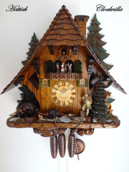 Cuckoo Clock Hettich Black Forest 8 Day Original German Hunter Wood ...