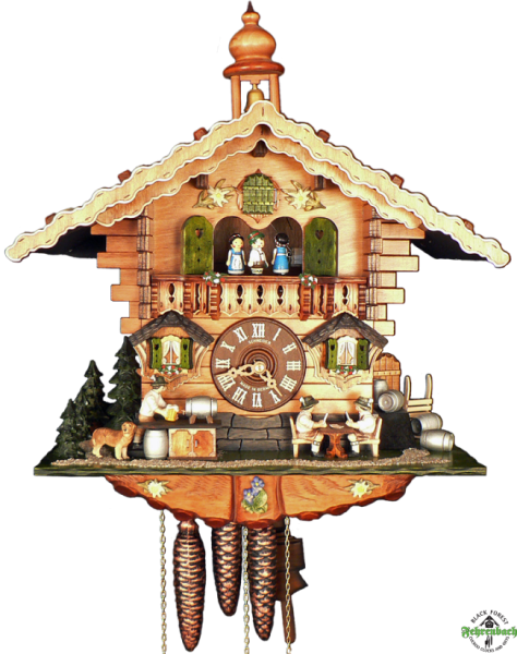 ... Cuckoo Clock - 8-Day Chalet with Card Players at Brewery - Schneider