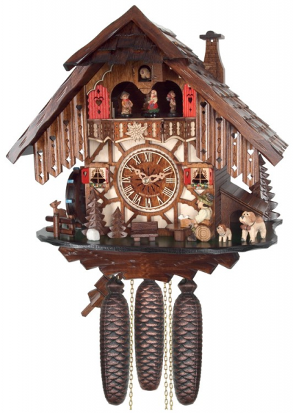 Eight Day Musical Cuckoo Clock Cottage with Beer Drinker and Moving ...