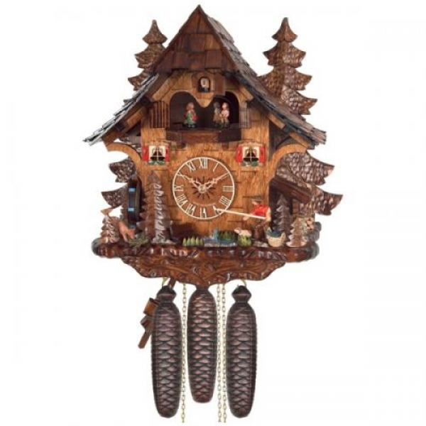 Eight Day Musical Chalet Cuckoo Clock with Dancers - Men Saw Wood and ...