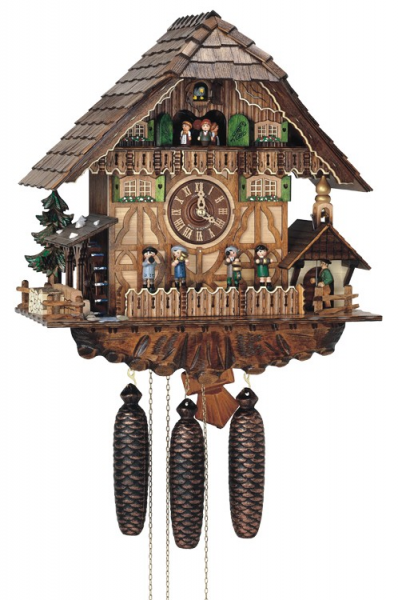 Eight Day Musical Cuckoo Clock Cottage - Moving Oompah Band and ...