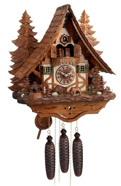 Eight Day Musical Chalet Cuckoo Clock with Hand-carved Dancing Bears ...
