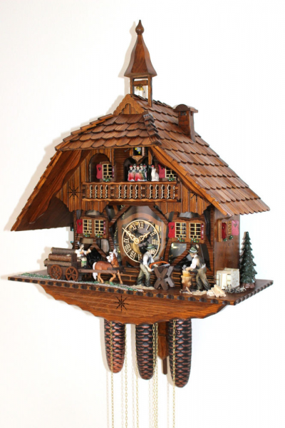 Original Black Forest Cuckoo Clock 8 Day German Music Visible Movement ...