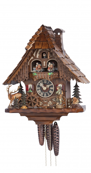 Cuckoo Clock Black Forest house with Forest scene and moving hunter ...