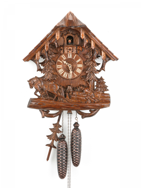 ... day cuckoo clock BLACK FOREST HOUSE with farmer and working horses