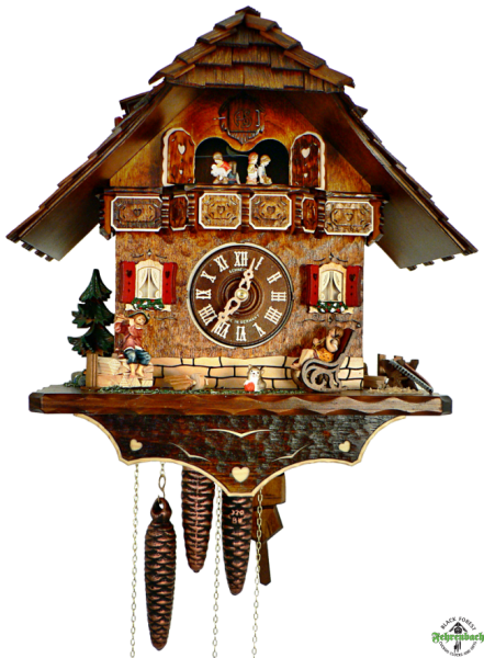 Cuckoo Clock - 8-Day Chalet with Children Playing Music - Schneider