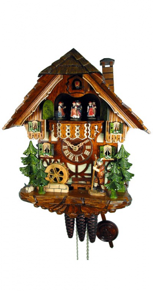 Day Musical Swiss Chalet with Bunny and Hiker Cuckoo Clock