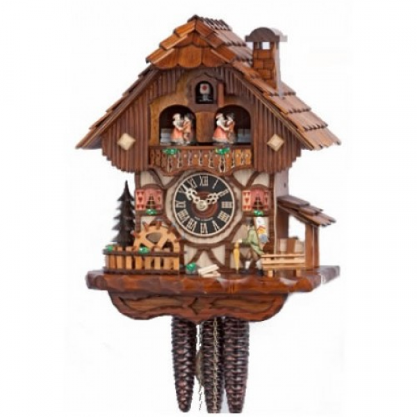 18 Musical Moving Clock Peddler w/ Dancers and Water Wheel Chalet ...