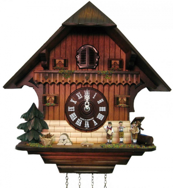 ... Music Bands German Black Forest Cuckoo Clock Quartz Chalet - NYC1494