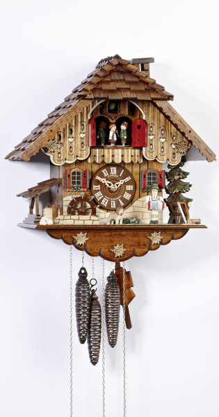 Cuckoo Clock Black forest house, turning mill-wheel - 1 day running ...